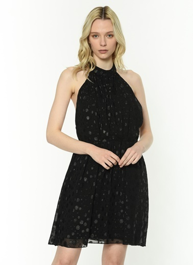 Twist Puantiteli Tül Elbise Siyah